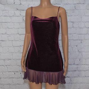 Cowl neck red velvet dress